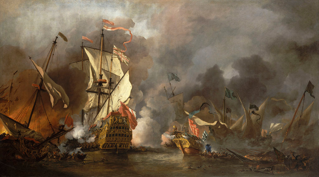 Detail of An English ship in action with Barbary pirates by Willem Van de Velde the Younger