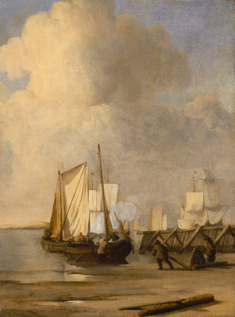 Detail of Calm: a kaag coming ashore by Willem Van de Velde the Younger