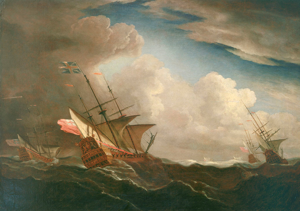 Detail of English ships at sea beating to windward in a gale by Willem Van de Velde the Younger