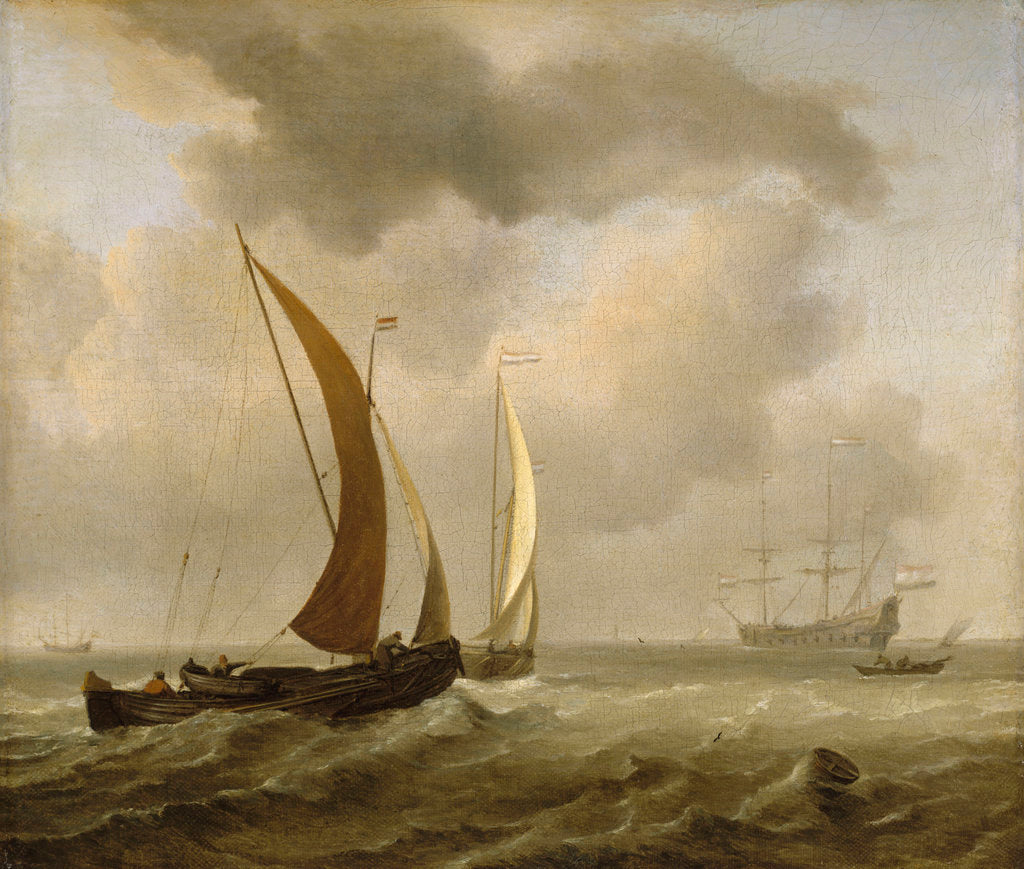 Detail of Two kaags at sea before a fresh breeze by Willem Van de Velde the Younger