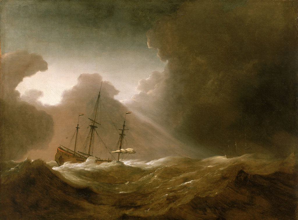 Detail of A Dutch ship scudding before a storm by Willem Van de Velde the Younger