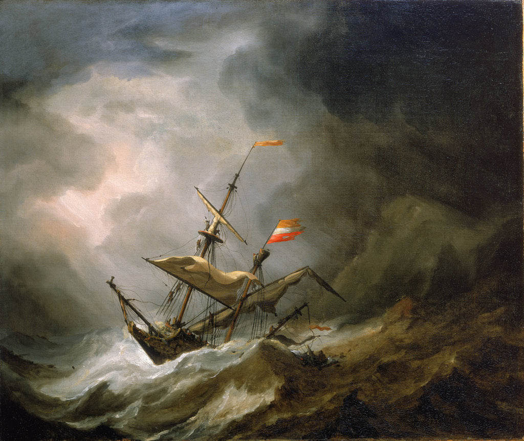 Detail of A mediterranean brigantine drifting onto a rocky coast in a storm by Willem Van de Velde the Younger