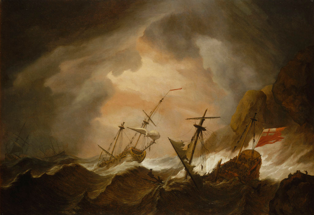 Detail of Two English ships wrecked in a storm on a rocky coast by Willem Van de Velde the Younger