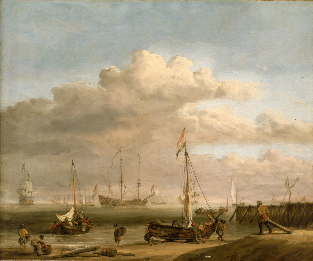Detail of Calm: the Dutch coast with a weyschuit by Willem Van de Velde the Younger