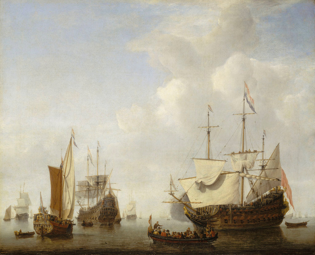 Detail of Calm: a Dutch flagship coming to anchor by Willem Van de Velde the Younger