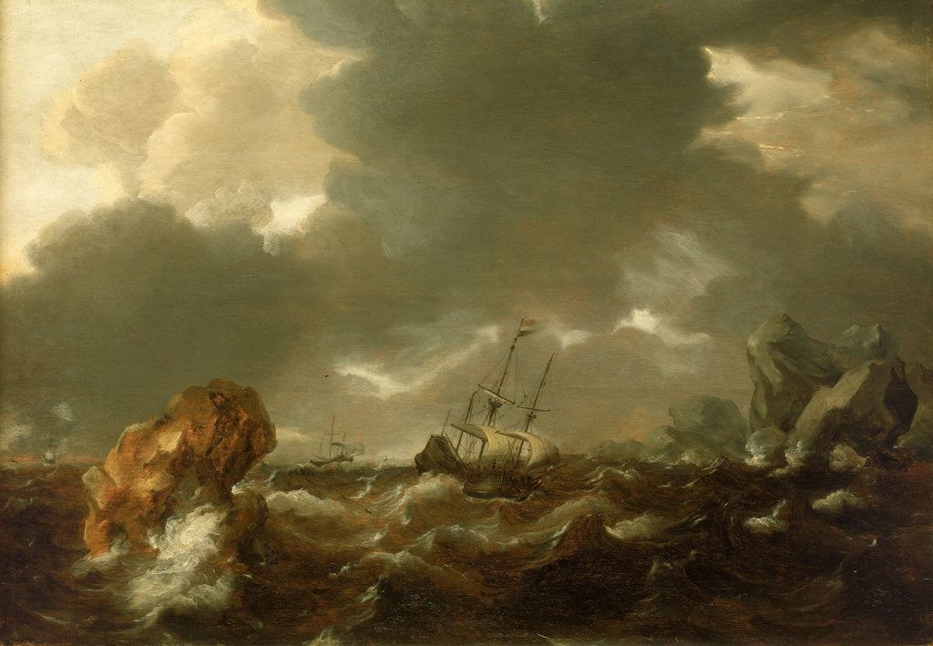 Detail of A Dutch merchant ship running between rocks in rough weather by Willem Van de Velde the Younger