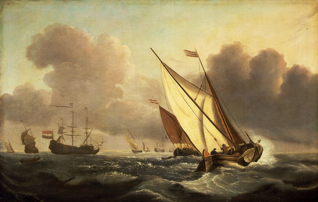 Detail of A kaag going to windward in a fresh breeze by Willem Van de Velde the Younger