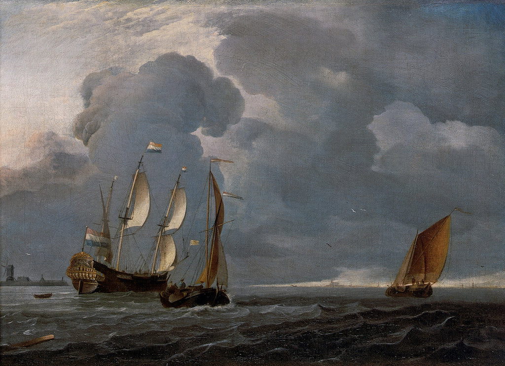 Detail of Two Dutch vessels and a flagship under sail in a harbour by unknown