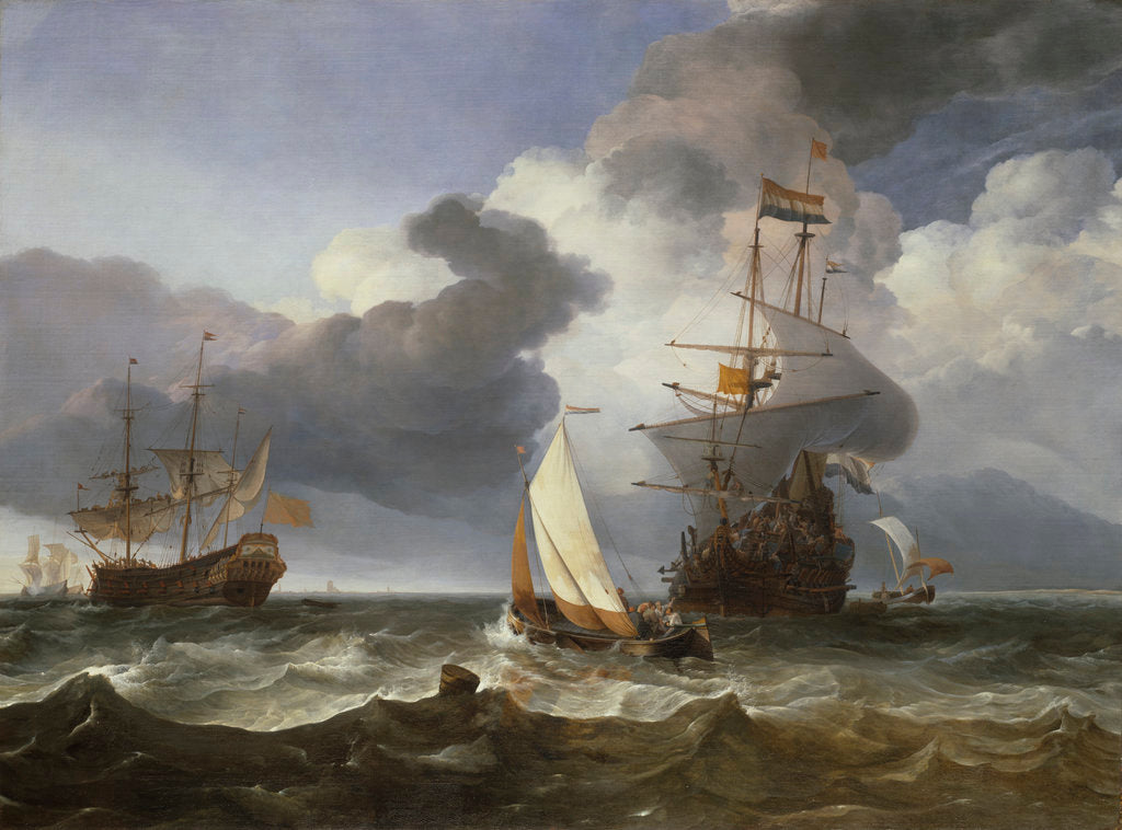 Detail of A smalschip with two Dutch East Indiamen coming to anchor by Hendrik-Jacobsz Dubbels