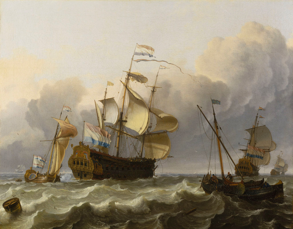 Detail of A Dutch flagship with a yacht under her stern by Ludolf Bakhuizen