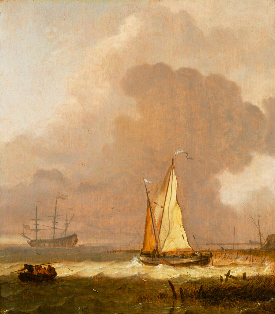 Detail of A kaag leaving the shore in stormy weather by Ludolf Bakhuizen