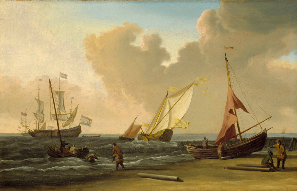 Detail of A fishing pink hauled up on the beach in a fresh breeze on the Dutch coast by Willem Van de Velde the Younger