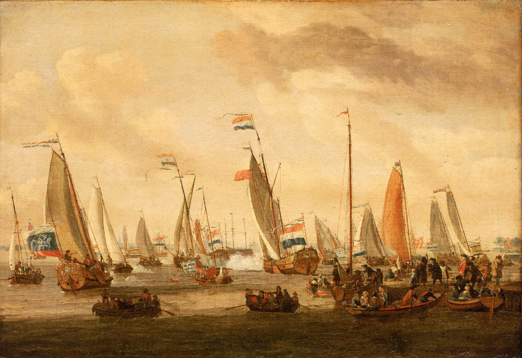 Detail of Review of Dutch yachts before Peter the Great by Abraham Storck