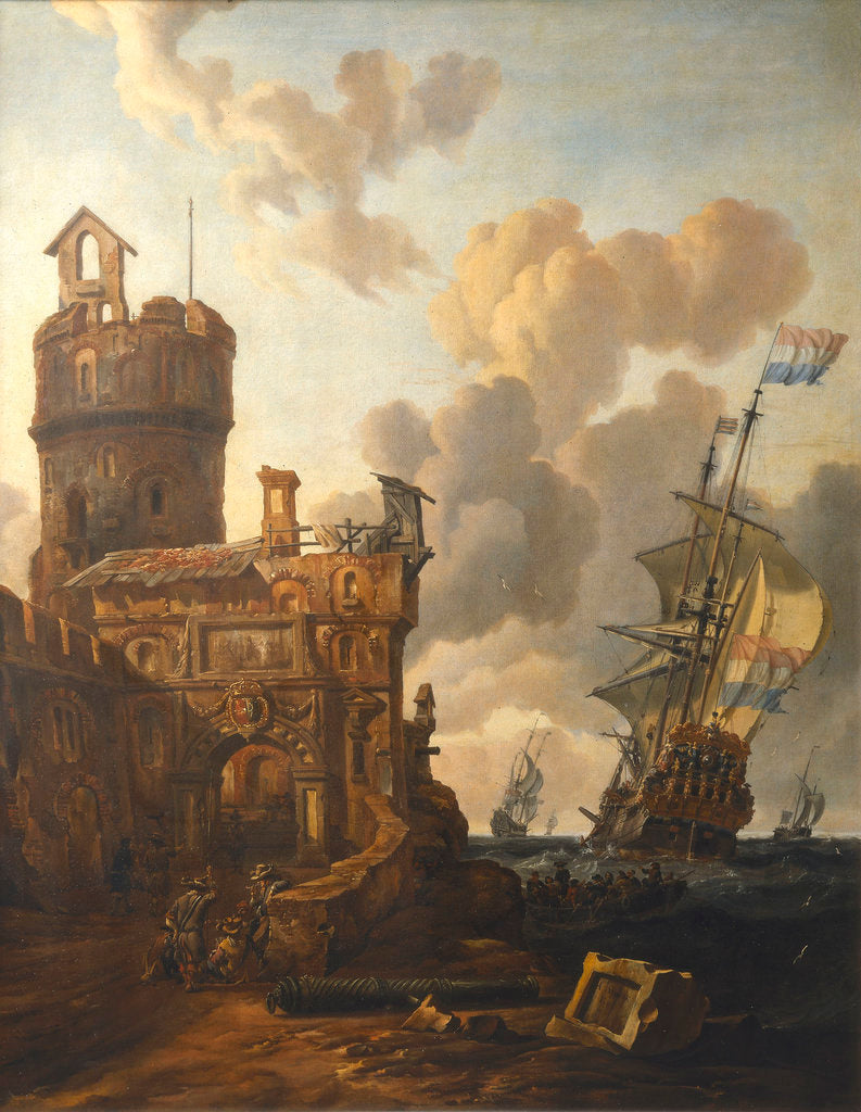 Detail of A Dutch ship passing a fort by Abraham Storck
