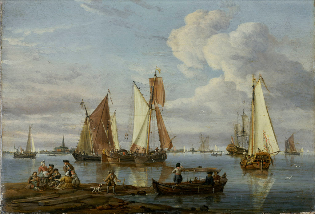 Detail of Dutch shipping in an estuary by Abraham Storck