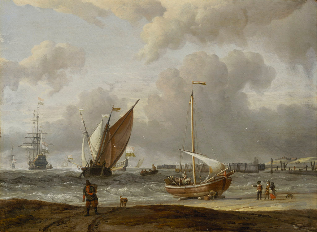 Detail of Fishing boats in a storm off the Dutch coast by Abraham Storck