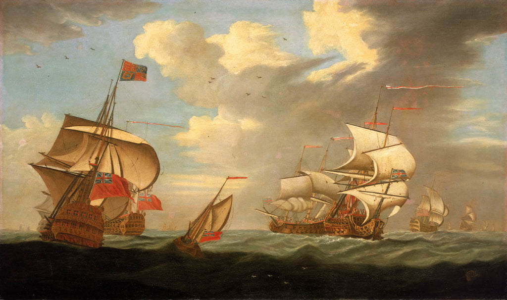 Detail of A man-of-war flying the Royal Standard, and other ships of the fleet by R. Vale