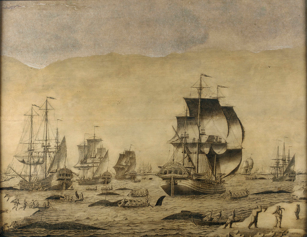 Detail of Dutch whalers in the ice by Roelof van Salm