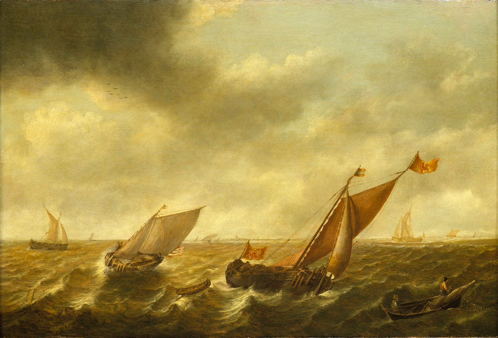 Detail of Fishing boats in a shallow sea by Jan Jacobsz van der Croos