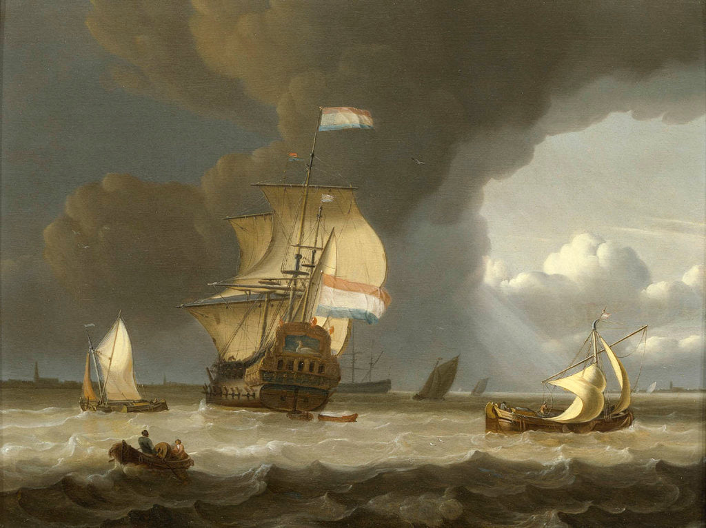 Detail of Dutch ships in the mouth of the Scheldt by Jan Claesz Rietschoof