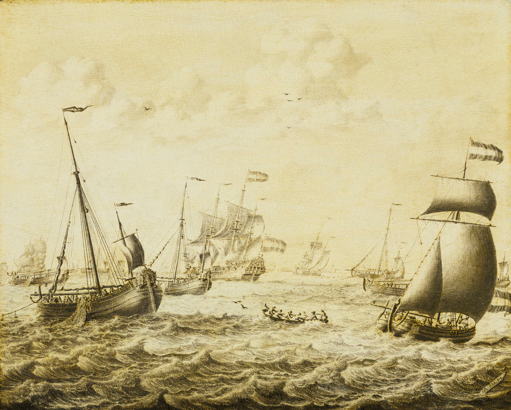 Detail of Dutch herring fishery by Adriaen van Salm