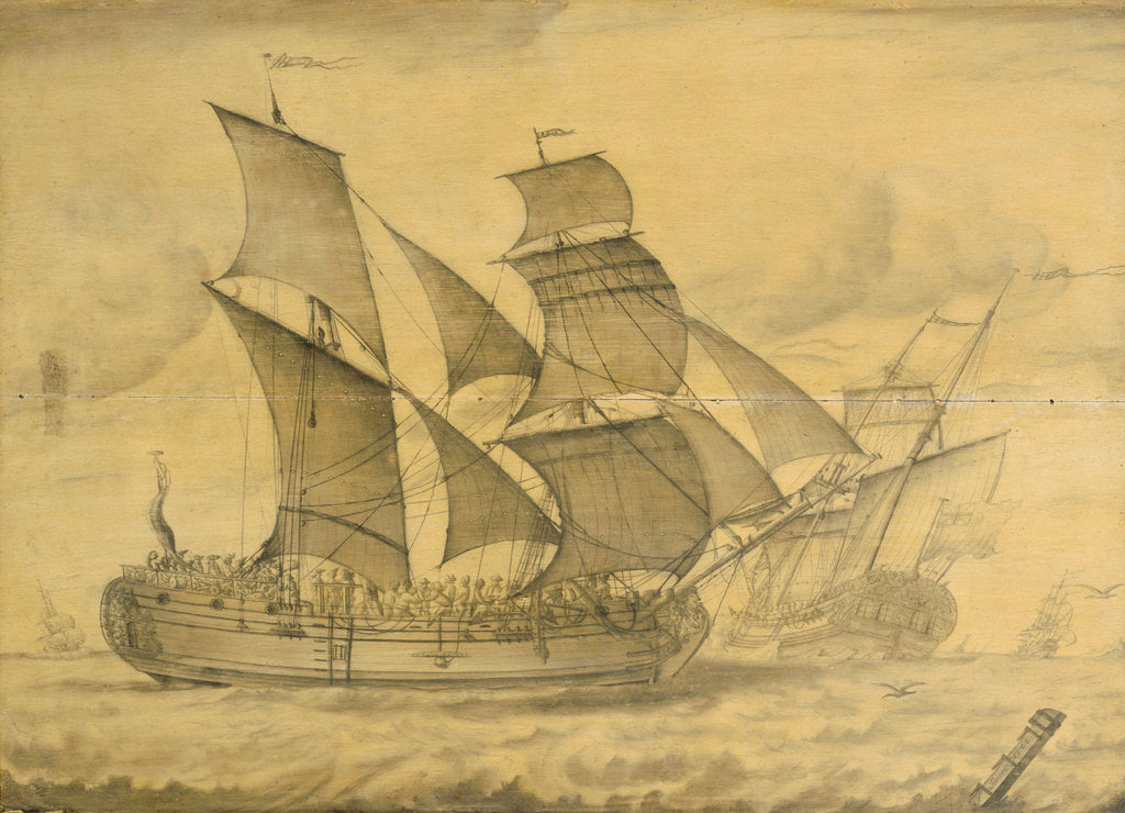 Detail of Two views of an English brigantine by T. or F 0 Boons