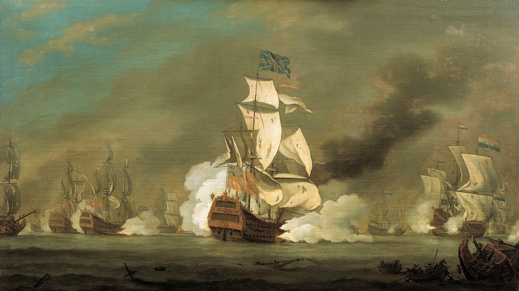 Detail of A battle between English and Dutch ships by Robert Woodcock