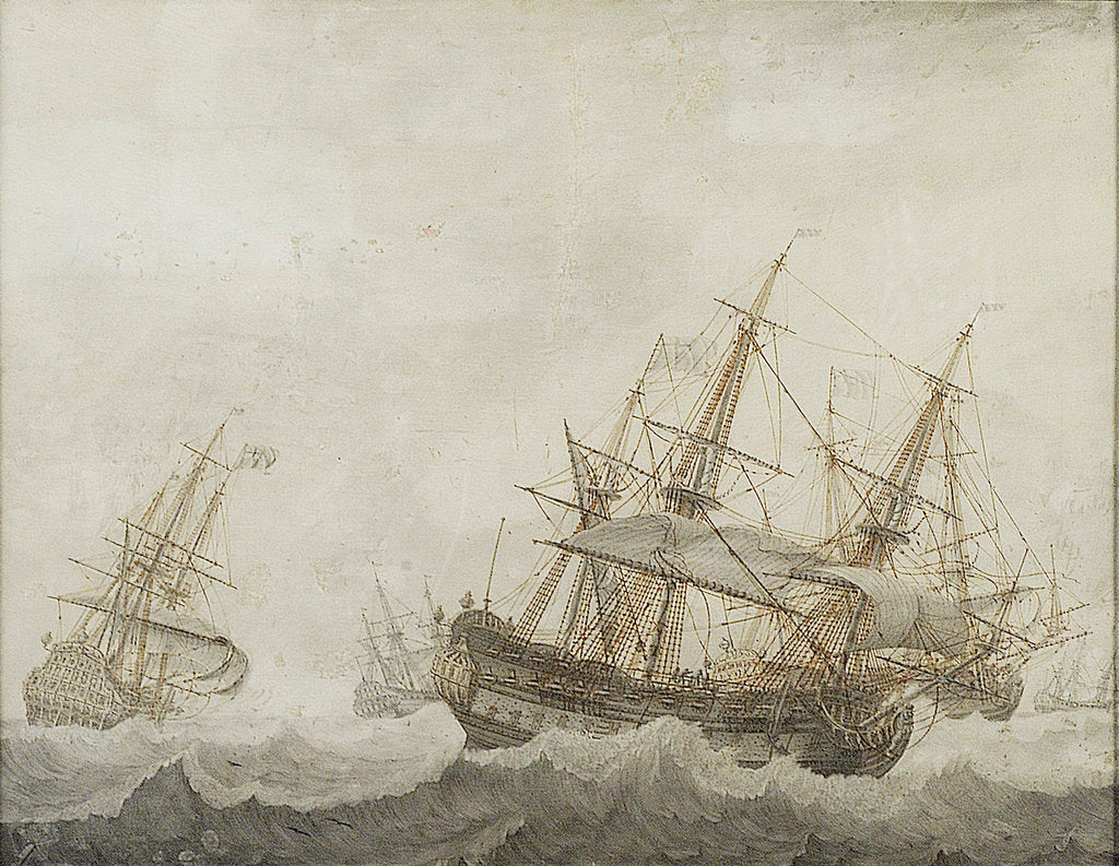 Detail of English men-of-war in a strong breeze by Cornelis Bouwmeester