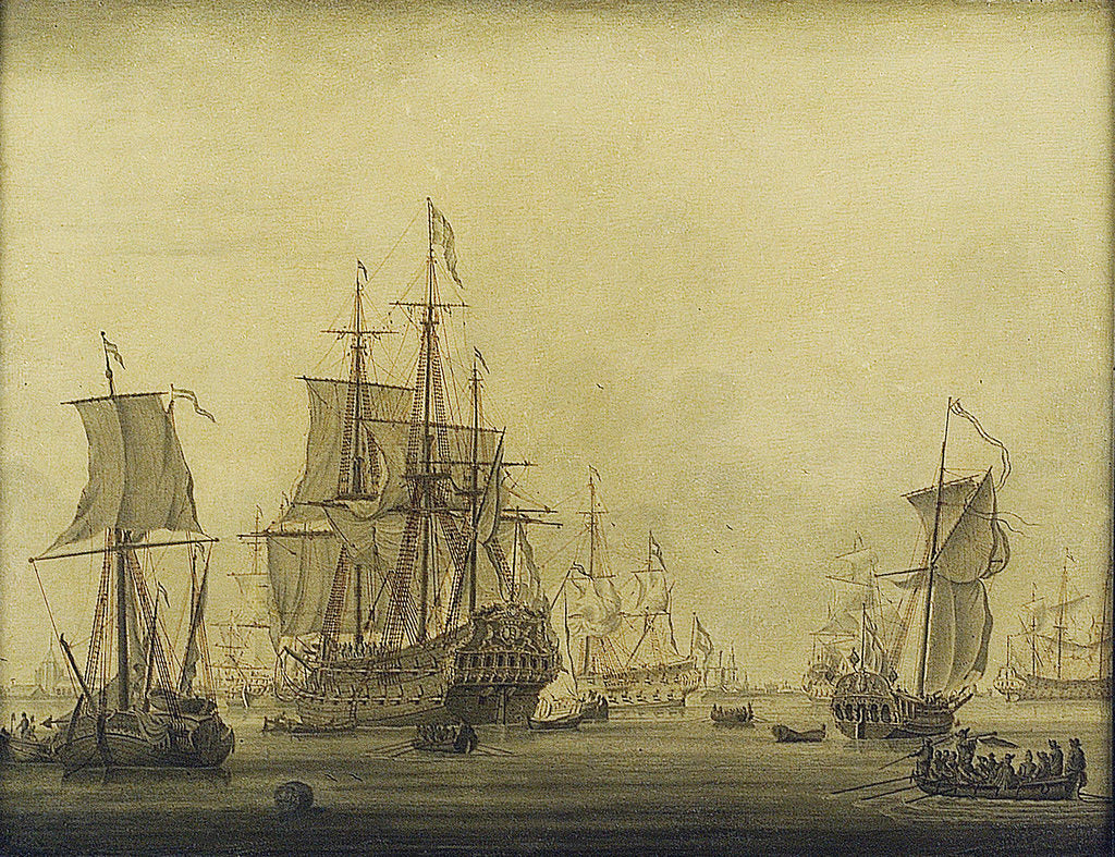 Detail of Calm: Dutch ships at anchor in a crowded harbour by Cornelis Bouwmeester
