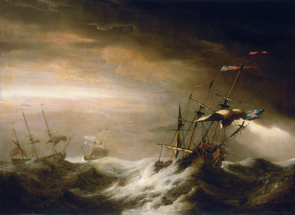 Detail of English ships in a storm by Johan van der Hagen