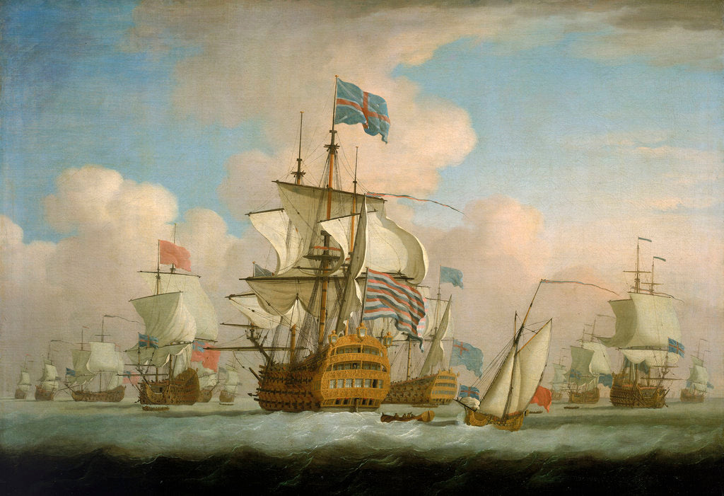 Detail of An English fleet coming to anchor by Peter Monamy