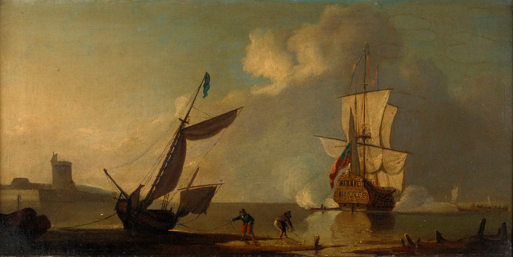 Detail of A ship saluting a fort by J. Cook