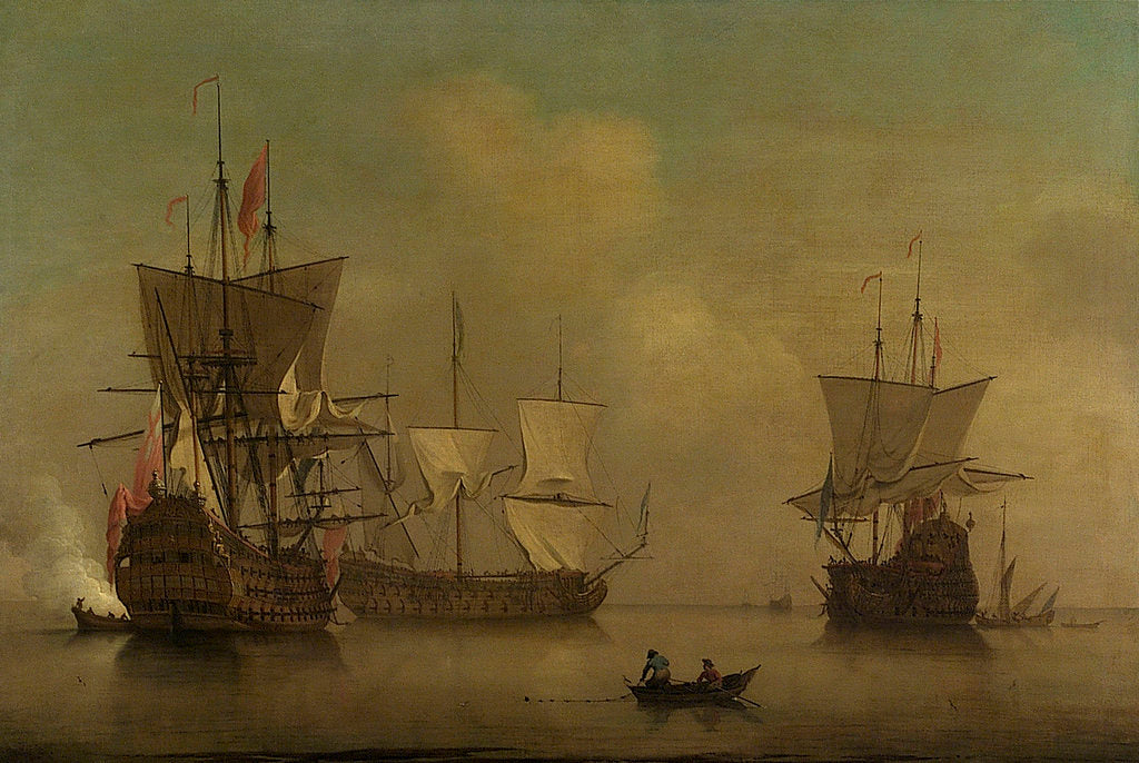 Detail of Three English flagships becalmed by Peter Monamy
