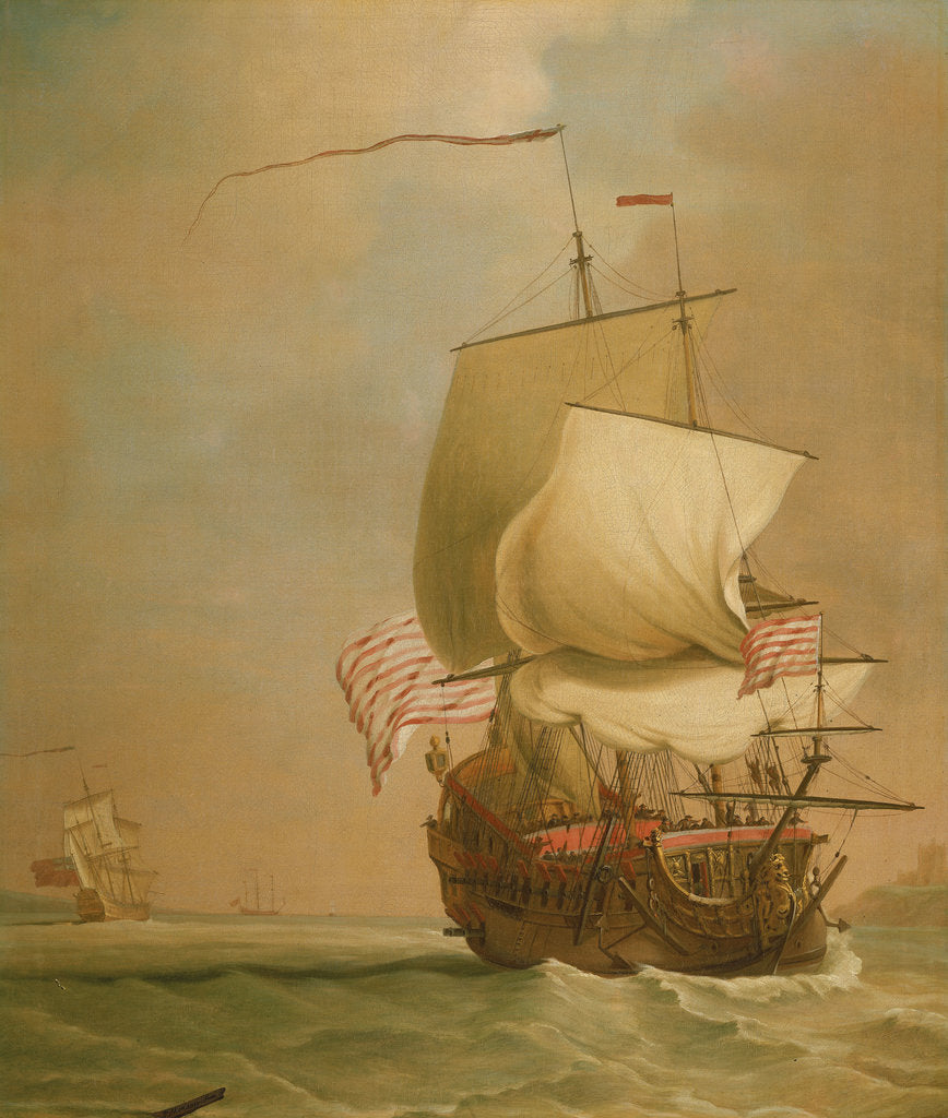 Detail of An English East Indiaman, bow view by Peter Monamy