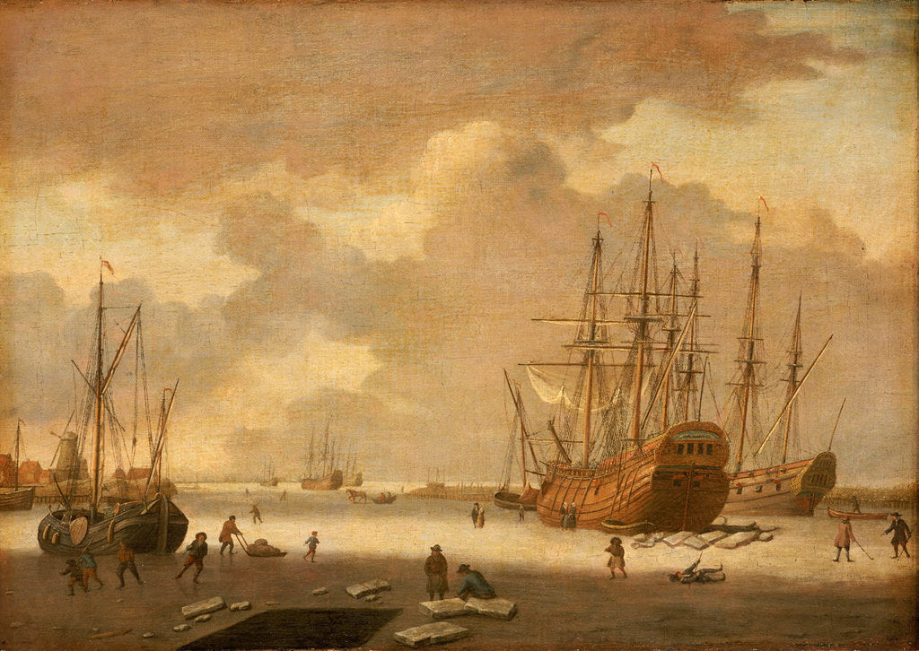 Detail of A Dutch whaler and other vessels in the ice by Adam Silo