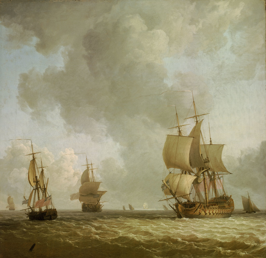 Detail of Ships in a light breeze by Charles Brooking