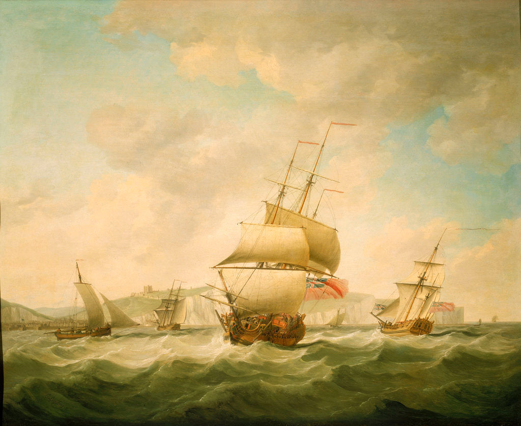 Detail of A merchantman and a royal yacht beating to qindward off Dover by Charles Brooking