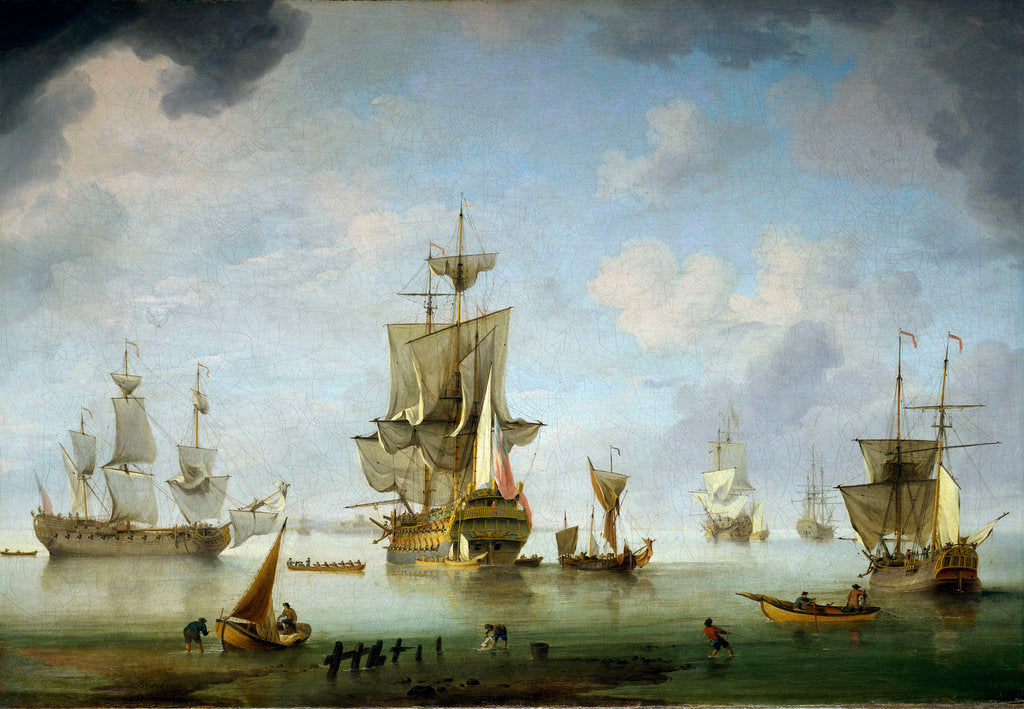 Detail of Shipping becalmed in the Solent by Charles Brooking