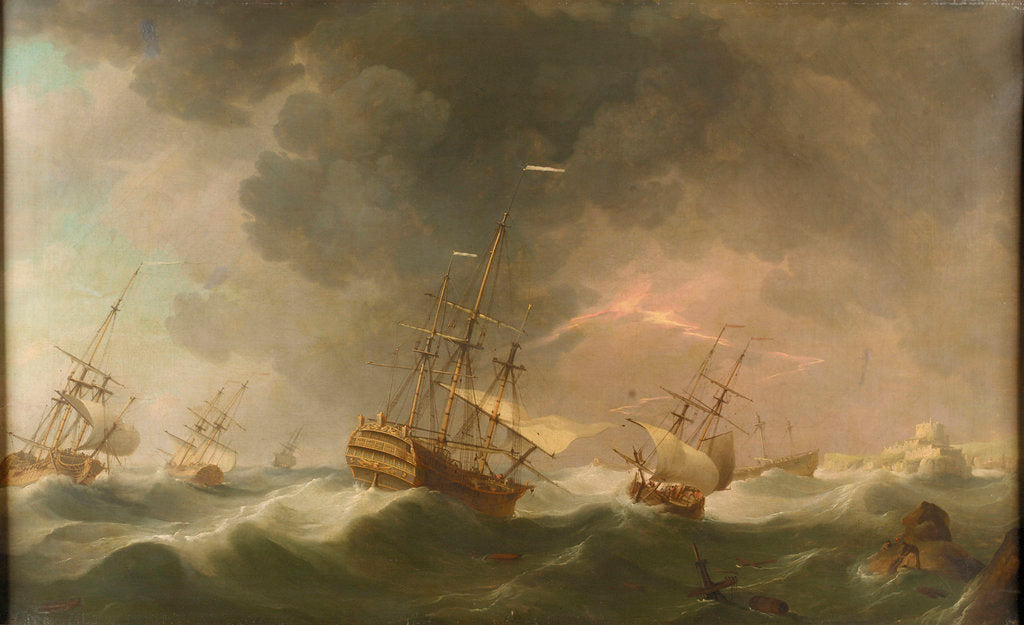 Detail of East Indiamen driven ashore in a storm by Charles Brooking