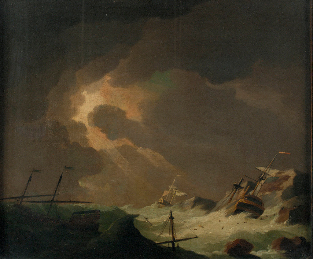Detail of A galley with other vessels wrecked on a rocky coast by Charles Brooking