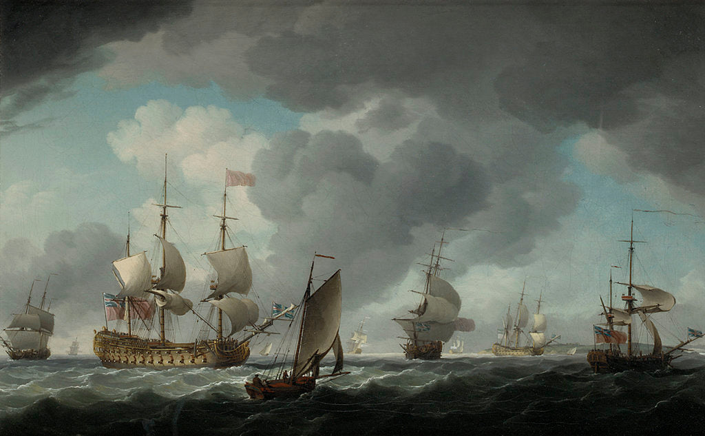 Detail of An English vice-admiral of the Red and his squadron at sea by Charles Brooking