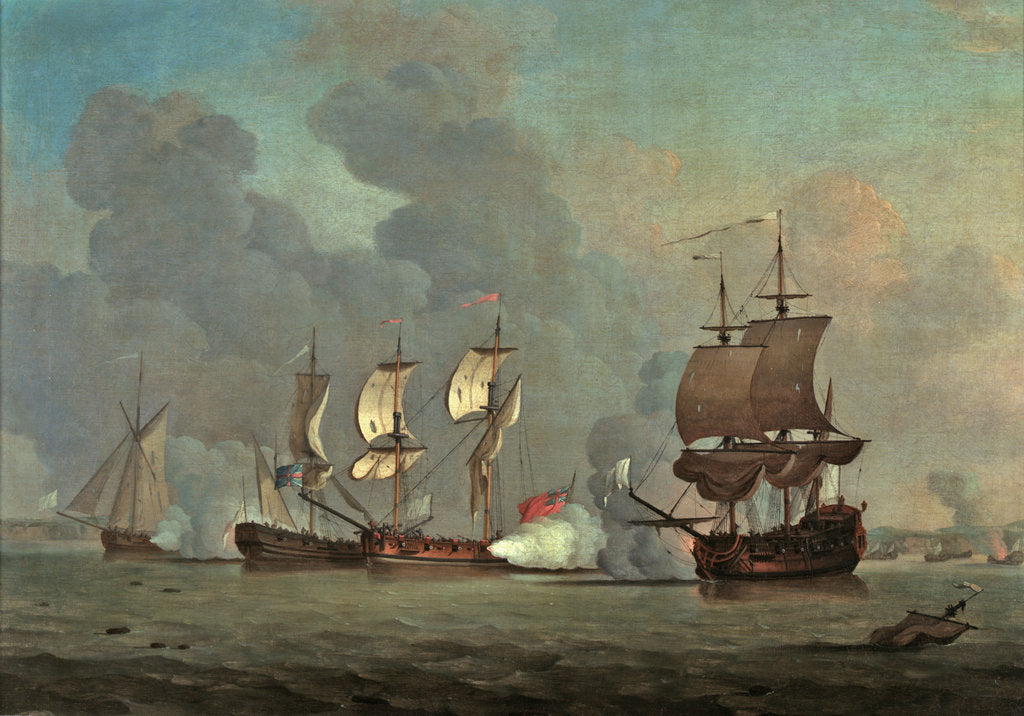 Detail of An English privateer engaging a French privateer by Samuel Scott