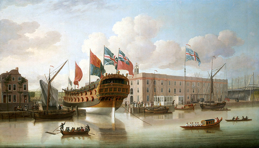 Detail of 'St Albans' floated out at Deptford, 1747 by John Cleveley