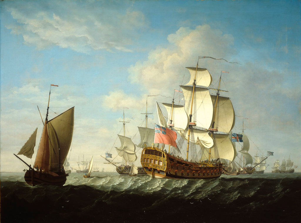 Detail of An English squadron getting under way by Francis Swaine