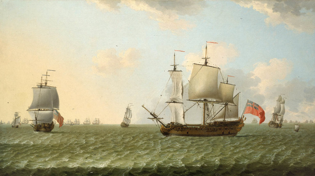 Detail of A fleet of East Indiamen by Francis Swaine