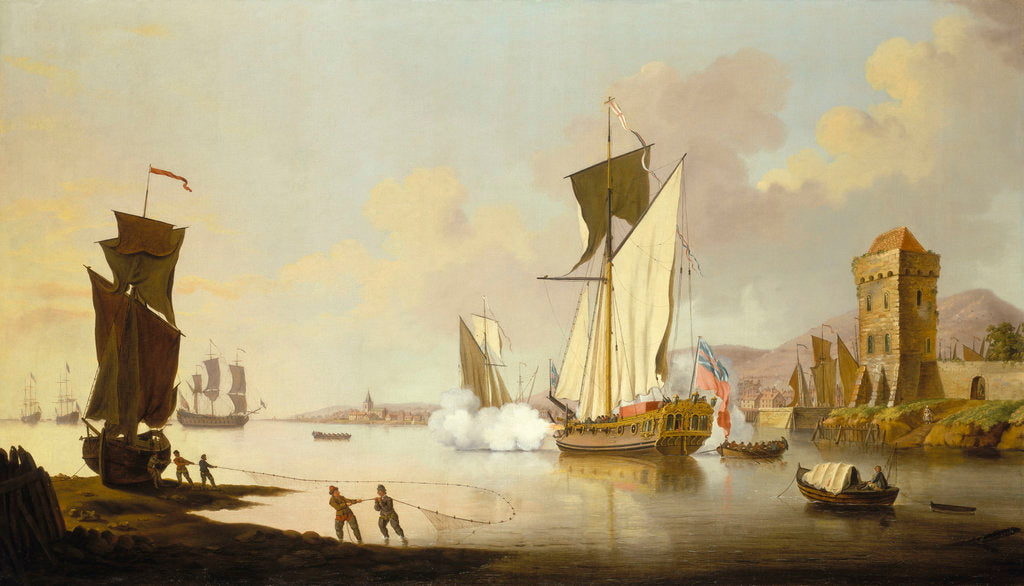 Detail of Fishing scene, with a yacht beached near the shore by Francis Swaine