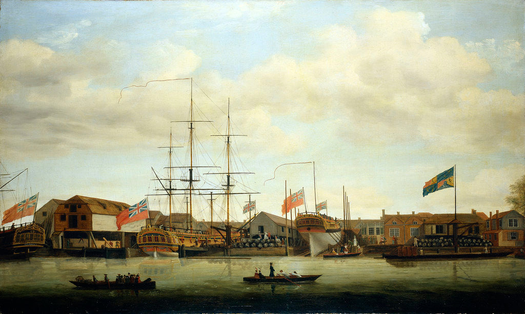 A small shipyard on the Thames by Francis Holman