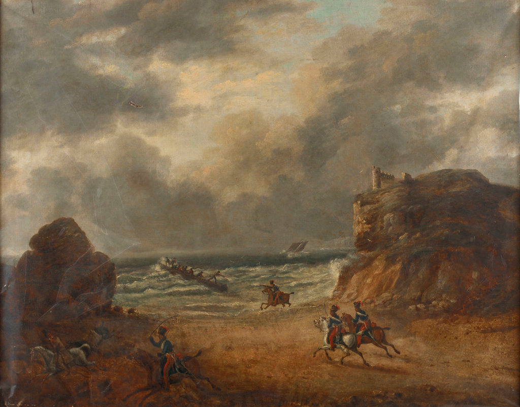 Detail of Chasing smugglers on a rocky coast by unknown