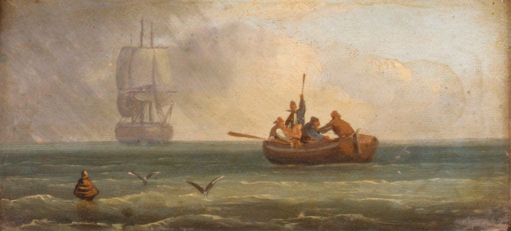 Detail of Four sailors in a ship's boat by Sands