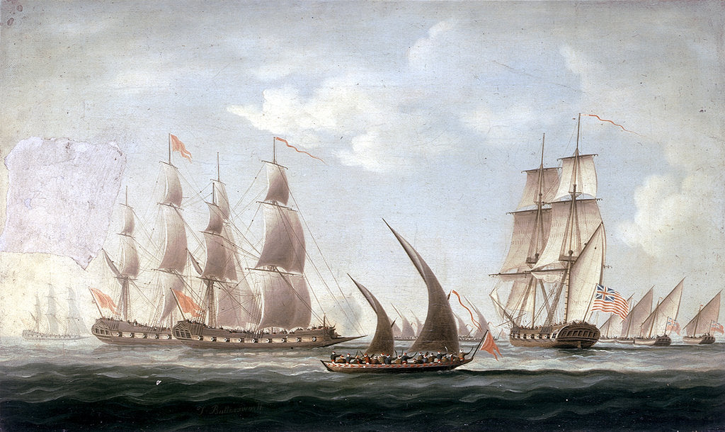 Detail of Attack on HMS 'Aurora' by pirates, 1812: end of the action by unknown